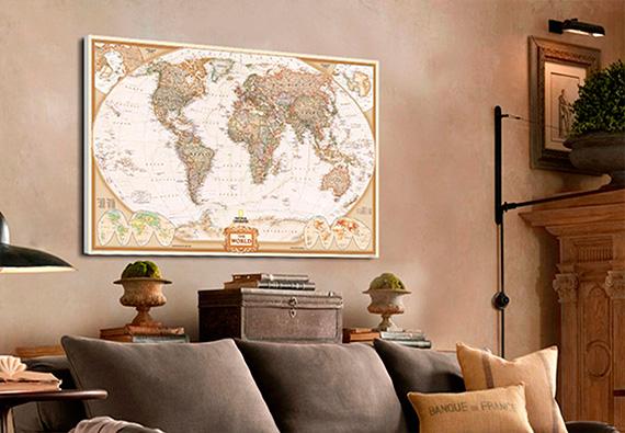 χάρτης καμβάς με τελάρο