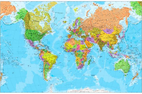 Χάρτης Παγκόσμιος Πολιτικός & Γεωφυσικός
