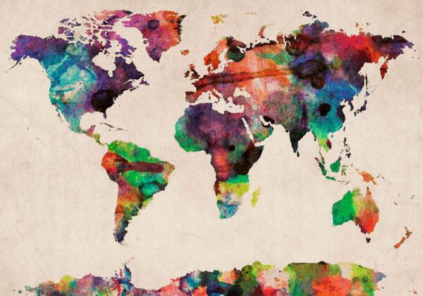 Διακοσμητικός Παγκόσμιος χάρτης υδατογραφία