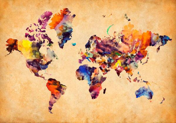 Παγκόσμιος χάρτης υδατογραφία