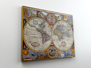 vintage χάρτης σε καμβά με τελάρο