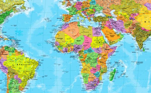 λεπτομερής παγκόσμιος χάρτης στα Ελληνικά