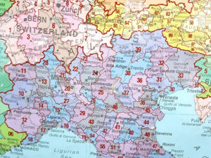 χάρτης Ευρώπης με ταχυδρομικούς κώδικες