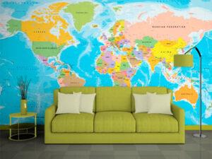 ταπετσαρία τοίχου παγκόσμιος χάρτης