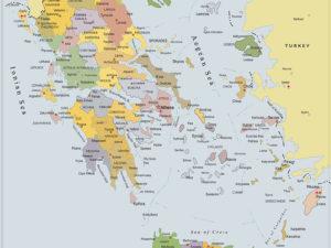 χάρτης Ελλάδας στα Αγγλικά