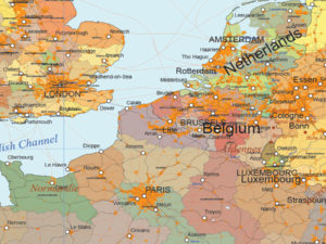 χάρτης Ευρώπης με σημαίες