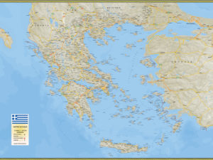 Χάρτης Ελλάδας πολιτικός - γεωφυσικός
